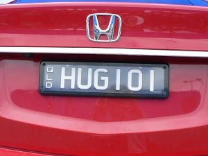 HUG number plate on a special day in God's love